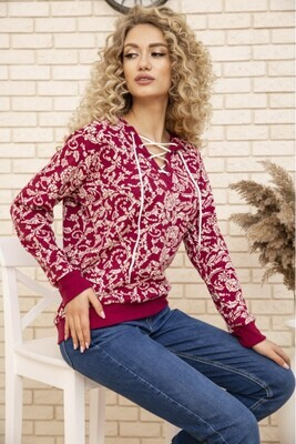 Hoodie for women with a hood, neckline with a drawstring, sleeve on the cuff AG print Fuchsia white