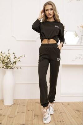 Women's Casual Suit Cropped Sweatshirt & Joggers Black