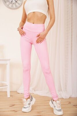 Women's leggings with pockets and eco-leather inserts color Pink