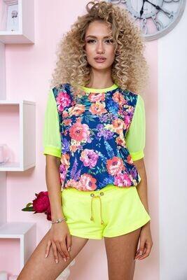 T-shirt blouse female color Yellow-blue
