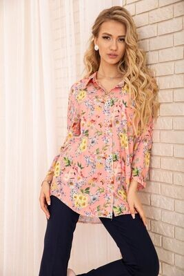 Women's viscose shirt with floral print Peach