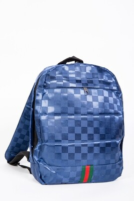 Satin backpack with print color Blue