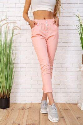 Lightweight cotton pants for women, color Peach