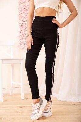 Women's leggings with stripes color Black