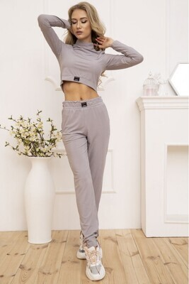 Knitted women's suit in ribbed color Gray