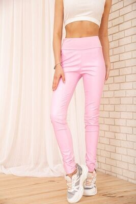 Women's leggings made of eco-leather with a high waist color Pink