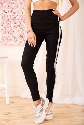 Women's leggings with silver stripes color Black