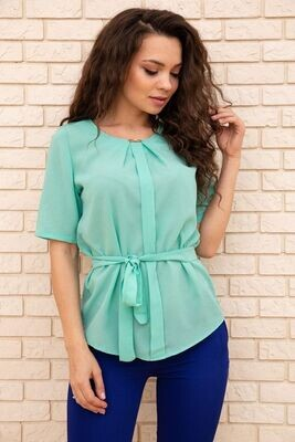 Summer blouse chiffon with short sleeves and a belt Mint color