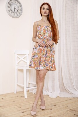 Women's sundress with flounce and floral print