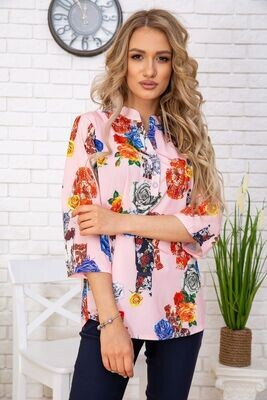 Summer blouse for women from viscose with flowers color Powder