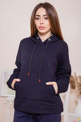 Warm navy blue loose-fitting hoodie for her