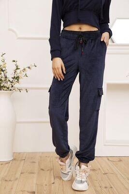 Women's velor pants with side pockets Khaki color