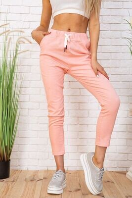 Summer pants for women, cotton with stripes, color Peach