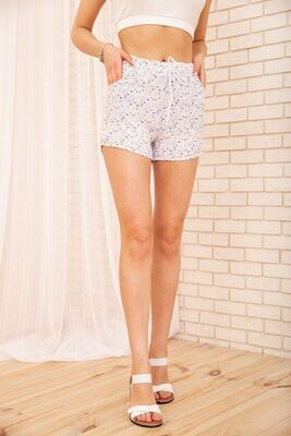 Women's short shorts with elasticated floral print