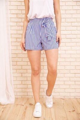Women's striped shorts with belt color Black
