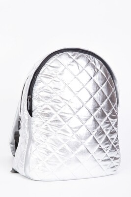 Backpack female quilted color Silver