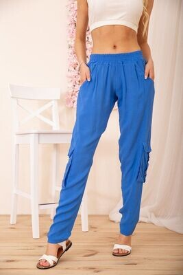 Summer women's cargo pants with elasticated color Electric