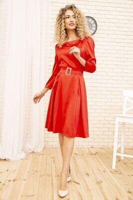 Приталенное платье из атласа цвет Красный