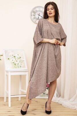 Платье свободного кроя большой размер цвет Пудровый