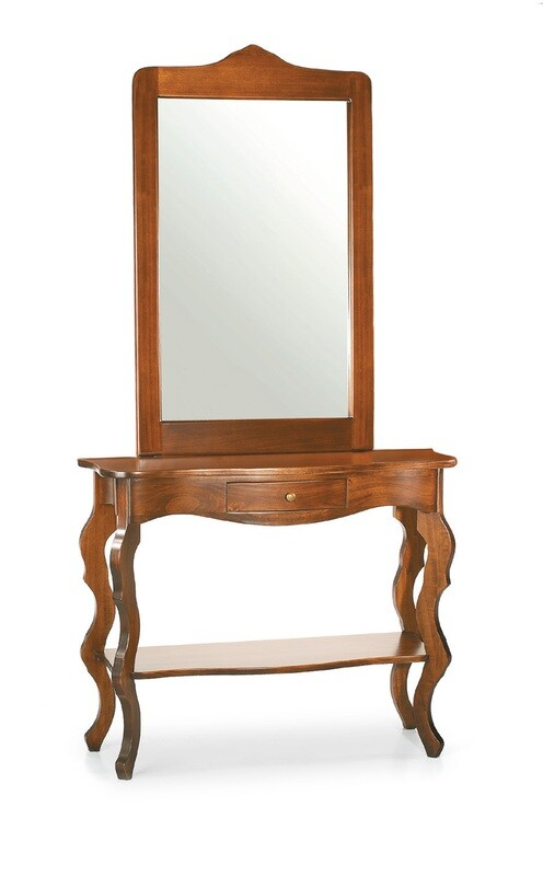 Cornice con Specchio + Consolle Legno Massello Lucido Noce