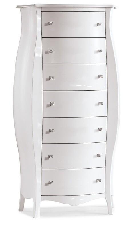 Cassettiera Laccato Lucido Bianco Legno Massello