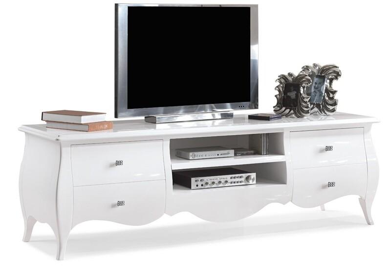 Porta Tv Legno Massello Laccato Lucido Bianco