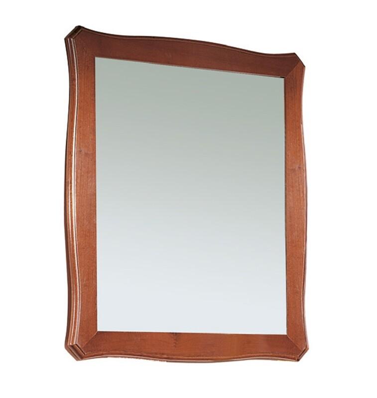 Cornice con Specchio Legno Massello Lucido Noce