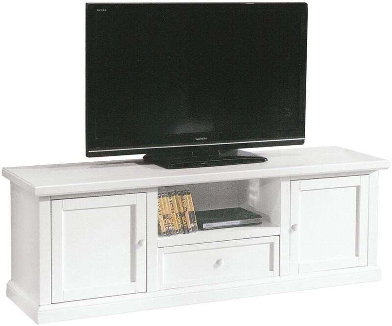 Porta Tv Legno Massello Bianco Opaco