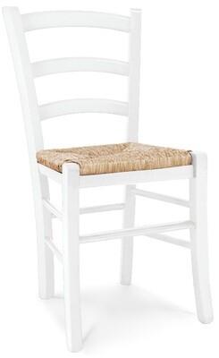 Sedia Legno Massello Bianco Opaco