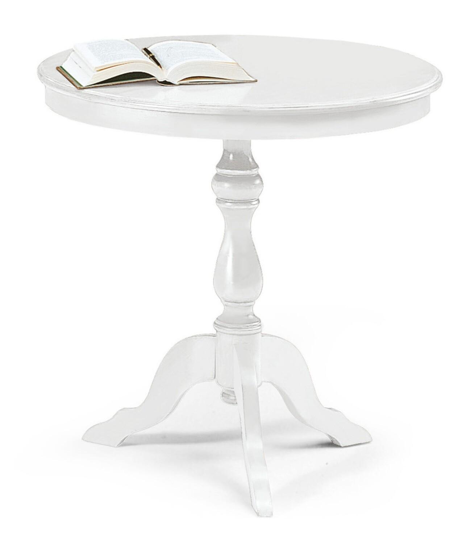 Tavolino Legno Massello Bianco Opaco