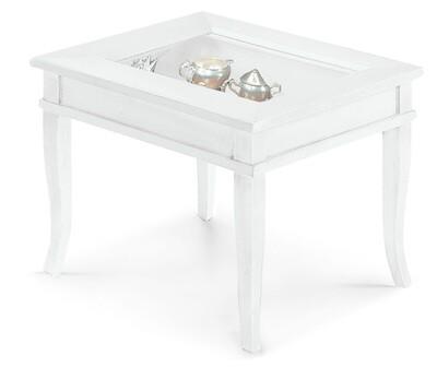 Tavolino Bacheca Legno Massello Piano Vetro