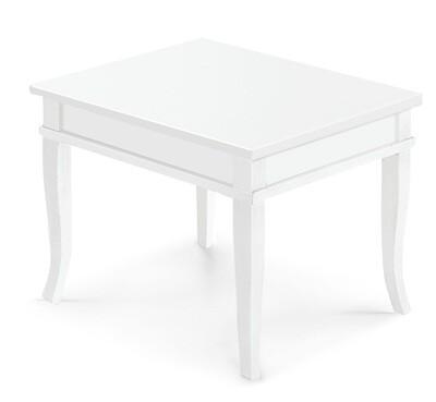 Tavolino Bacheca Piano Legno Massello Bianco Opaco