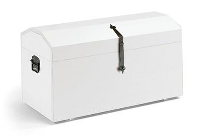 Baule Legno Massello Bianco Opaco