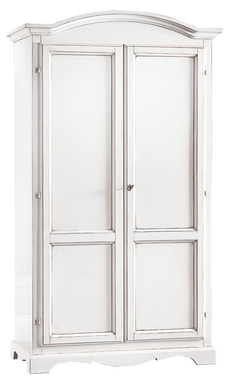 Armadio 2 Porte Legno Massello Bianco Opaco