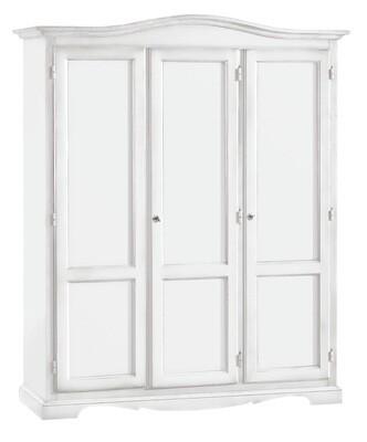 Armadio 3 Porte Legno Massello Bianco Opaco