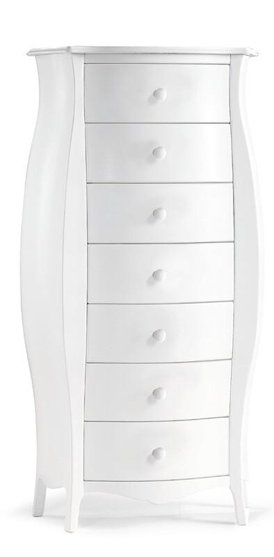 Cassettiera bombata Legno Massello Bianco Opaco