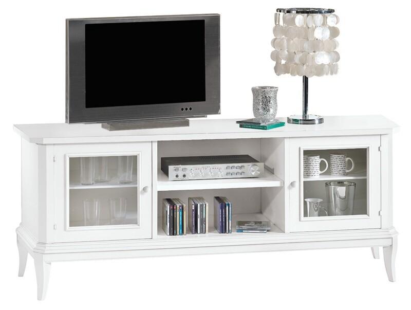 Porta Tv basso Legno Massello Bianco Opaco