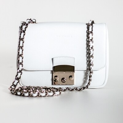 Coccinelle Margo Leather Chain Crossbody White Bag