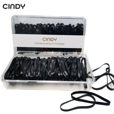 CINDY Black Color Hair Rubberband Box Elastic Hair Ties