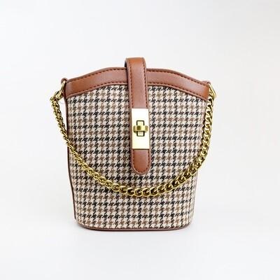CINDY Brown Vintage Bucket Sling Bag - E2