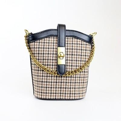 CINDY Black Vintage Bucket Sling Bag - E1