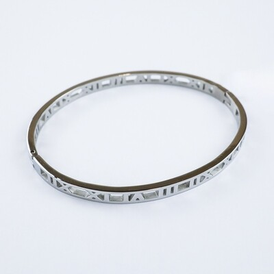 Silverland Roman Numerals Stainless Steel Bangle