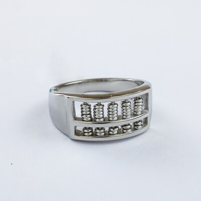 Silverland Stainless Steel Abacus Ring