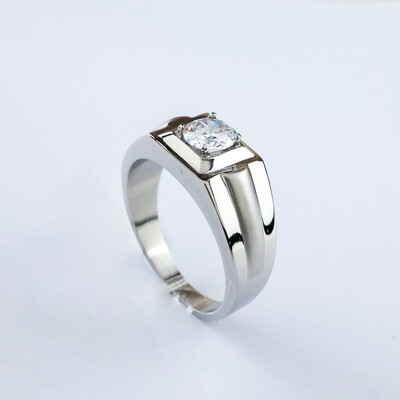 Silverland Stainless Steel Zirconia Stone Men Ring