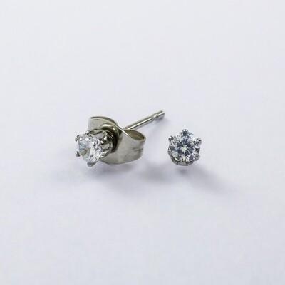 Silverland Stainless Steel White Zirconia Stone Round Earring