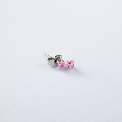 Silverland Stainless Steel Pink Zirconia Stone Heart Shape Earring