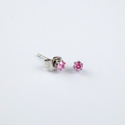 Silverland Stainless Steel Pink Zirconia Stone Round Earring