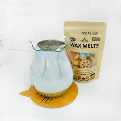 EL 010 - Wavy Glass Plate  (Glass Plate - Electric Burner - Extra Halogen Bulb)  Burner Wood Base Cat Coaster - 100g Asian Snack Mix Wax Melts