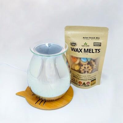 EL 011 - Round Glass Plate  (Glass Plate - Electric Burner - Extra Halogen Bulb) Burner Wood Base Cat Coaster - 100g Asian Snack Mix Wax Melts