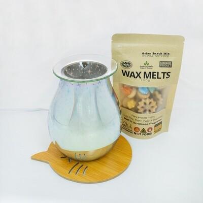 EL 013 - Round Glass Plate  (Glass Plate - Electric Burner - Extra Halogen Bulb) Burner Wood Base Cat Coaster - 100g Asian Snack Mix Wax Melts